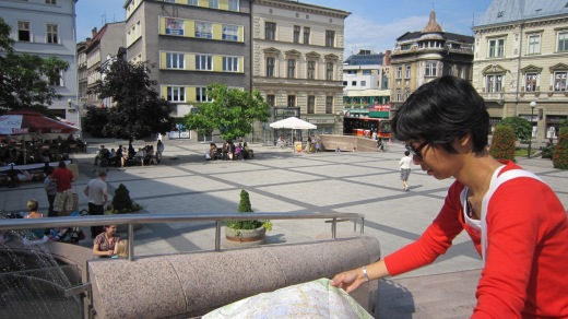 exploring the site at Bielska square